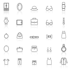 Dressing line icons with reflect on white vector image