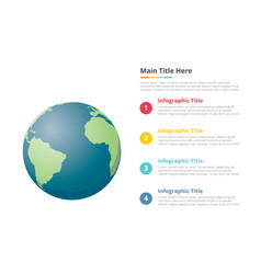 earth planet infographics template with 4 points vector image