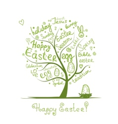 Easter tree sketch for your design vector