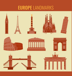 europe landmarks flat icon set travel and tourism vector image