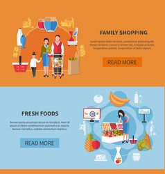 Family shopping supermarket banners vector