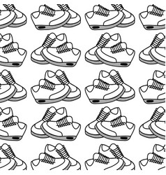 Figure comfortable sneakers fitness background vector