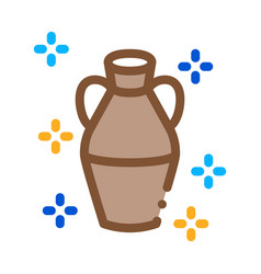 Finished clay vase icon outline vector