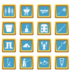 fishing tools icons azure vector image