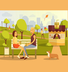 Flat of couple taking rest in vector