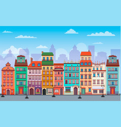 Flat warsaw cityscape panorama poland europe multi vector
