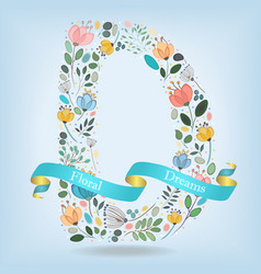 Floral letter d with blue ribbon vector