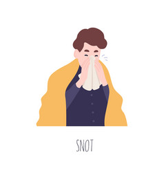 Funny boy blowing his nose or sneezing cute young vector