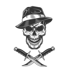 Gangster skull wearing fedora hat vector