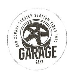 Garage old school service station label Vintage vector image