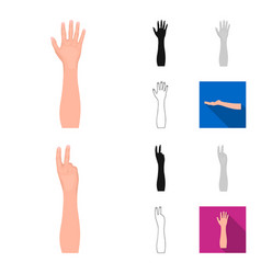 gestures and their meaning cartoonblackflat vector image