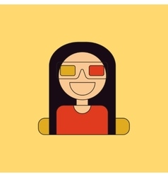 Girl at movie in flat style vector