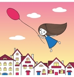 Girl flying over the city with a balloon in hand vector image