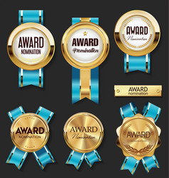 gold medal with blue ribbons award collection vector image