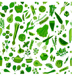 green vegetables detox seamless pattern design vector image