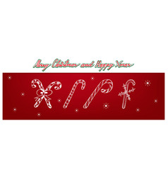 hand drawn of set of lovely candy canes vector image