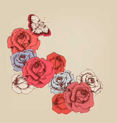 Hand drawn rose stems background vector