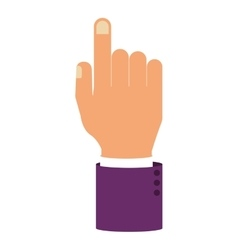Hand pointing with sleeve purple color vector