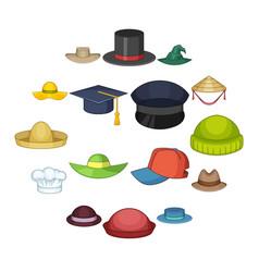 Hat cap icons set cartoon style vector
