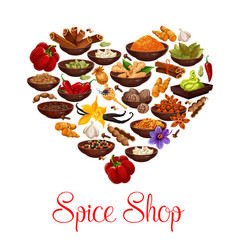 Heart with spice condiment and seasoning poster vector