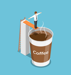 isometric businessman ready to jump into a cup of vector image