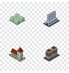 isometric construction set of water storage vector image
