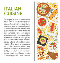 italian cuisine banner template with dishes top vector image