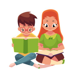 kids boy in glasses red haired girl reading vector image