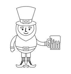 leprechaun character holding beer outline vector image