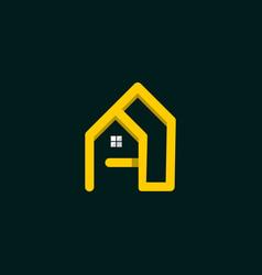letter a home line logo design vector image