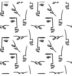line art ink face modern brush print home vector image