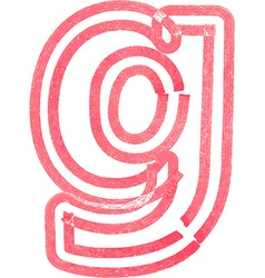Lowercase letter g drawing with Red Marker vector