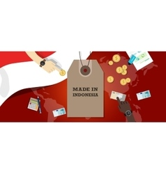 made in indonesia price tag badge vector image