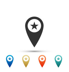 map pointer with star icon on white background vector image