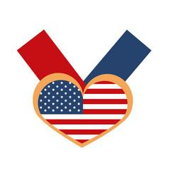Memorial day flag in heart ribbon symbol american vector