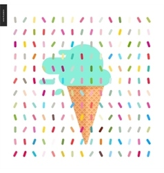 Mint ice cream in a cone and pattern vector