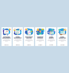 Mobile app onboarding screens business plan and vector