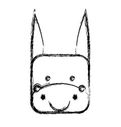 monochrome sketch with face of donkey in square vector image