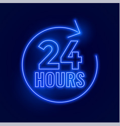 neon 24 hours open signboard design vector image