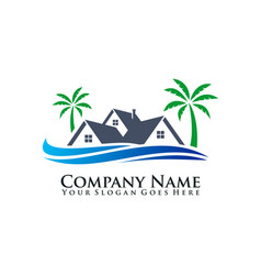 ocean and house logo vector image