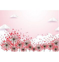 paper art heart shape flowers with cloud vector image