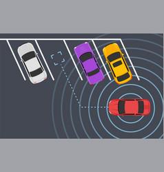 Parking smart car sensor autonomous view vector