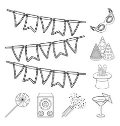 party entertainment outline icons in set vector image