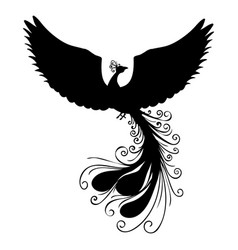 Phoenix bird silhouette ancient mythology fantasy vector