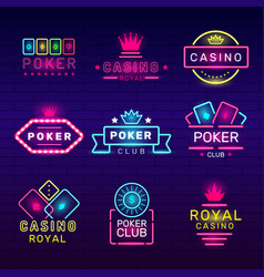 poker club neon badges casino game stamps light vector image