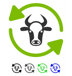 Refresh cow flat icon vector