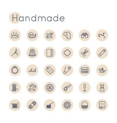 Round Handmade Icons vector