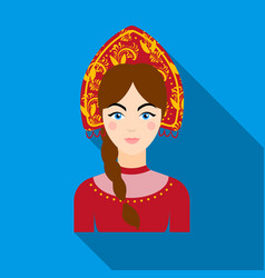 russian woman in traditional suit icon in flat vector image