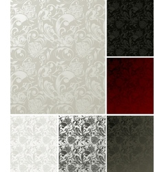Seamless wallpaper pattern set six colors vector
