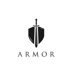 security shield with knight sword logo design vector image